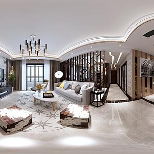 现代客厅全景整体模型