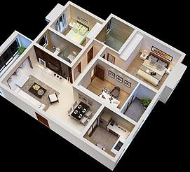 家装鸟瞰图整体模型
