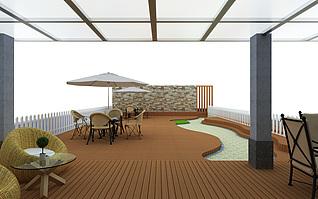 天台景观3d模型