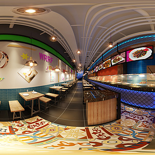 主体餐厅全景整体模型