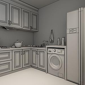 北歐簡約廚房3d模型