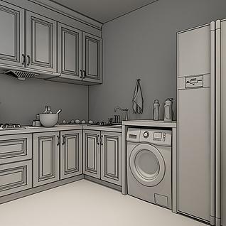 北欧简约厨房整体模型