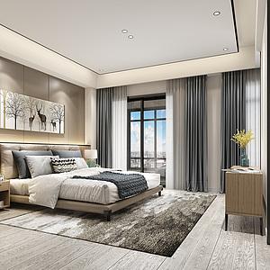 现代卧室书房3d模型