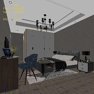 卧室现代3d模型