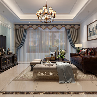 美式客厅3d模型