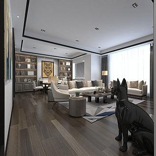 轻奢新中式客厅3d模型