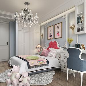 美式卧室-女孩房3d模型