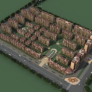 高檔住宅小區整體模型