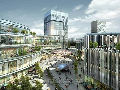 城市<font class='myIsRed'>辦公樓</font>小區建筑鳥瞰整體模型