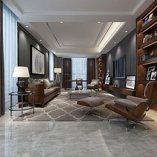 现代中式客厅3d模型