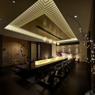 日式餐馆包间整体模型
