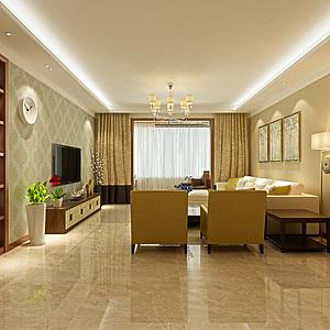 首创国际现代客厅餐厅整体模型