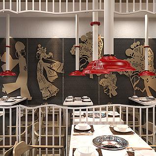 餐厅皮影整体模型