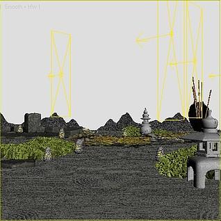 新中式景观小品整体模型
