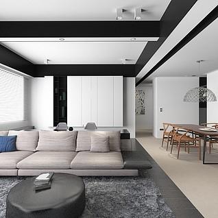 轻奢别墅客厅3d模型