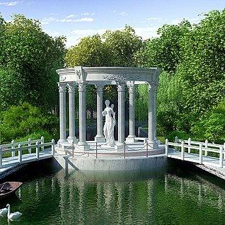 园林别墅公园小院子景整体模型
