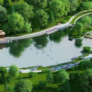 园林别墅公园小院子整体模型