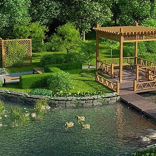 园林别墅公园小院子景观整体模型