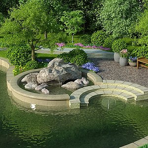 <font class='myIsRed'>园林</font>别墅公园小院子整体模型