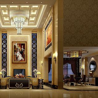 欧式客餐厅3d模型