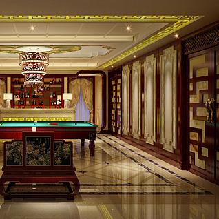 中式休闲室3d模型