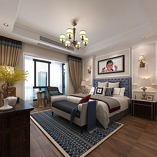 简约中式卧室3d模型
