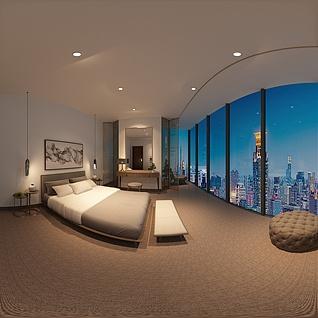 偏点中式酒店卧室整体模型