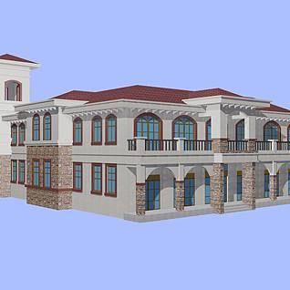 别墅方案整体模型