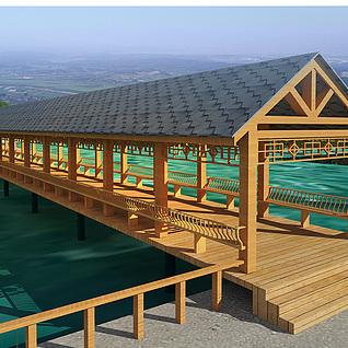 垂钓区长廊整体模型