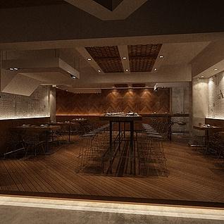 文艺餐厅整体模型
