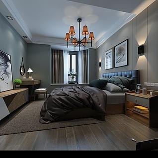 简约欧式卧室3d模型