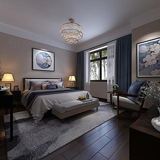 简约清新式卧室3d模型