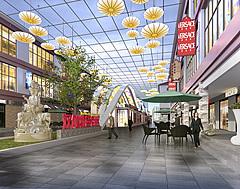 室外商业街,步行街3D模型