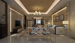 欧式建筑风格客厅3d模型