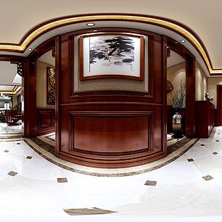 欧式客餐厅玄关全景整体模型