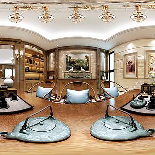欧式茶室全景整体模型