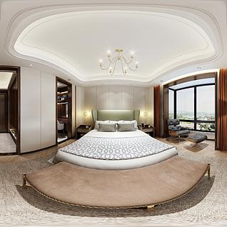 现代卧室全景3d模型