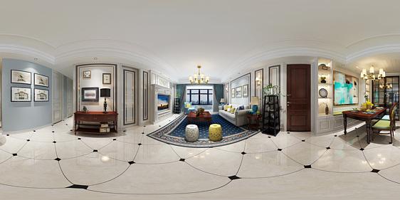 美式客餐厅全景3d模型