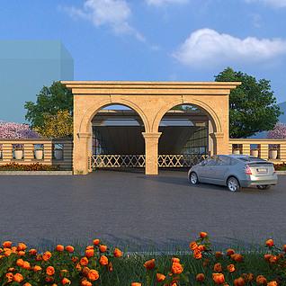 车库入口的建筑景观处理整体模型