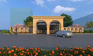 车库入口的建筑景观处理3d模型