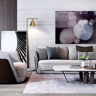 后现代客厅沙发茶几组合3d模型
