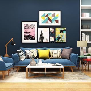 简约北欧现代客厅家装整体模型