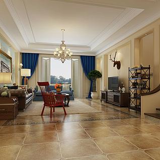 简欧风格家装客厅整体模型