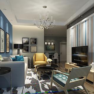 北欧简约家装客厅整体模型