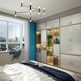 北欧主卧室模型3d模型