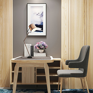 现代家装书桌组合整体模型