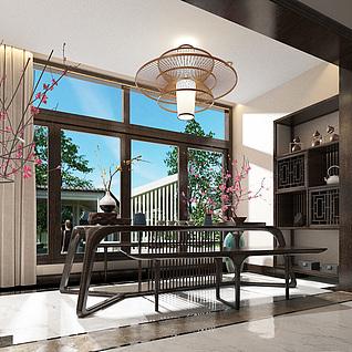 新中式茶楼、茶室整体模型