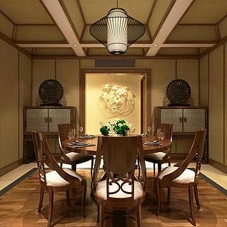 中式客厅家装整体模型
