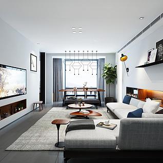 现代简约家装客厅整体模型