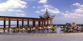 公园荷花凉亭3d模型